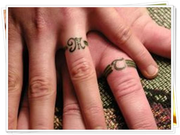 wedding ring tattoo in finger